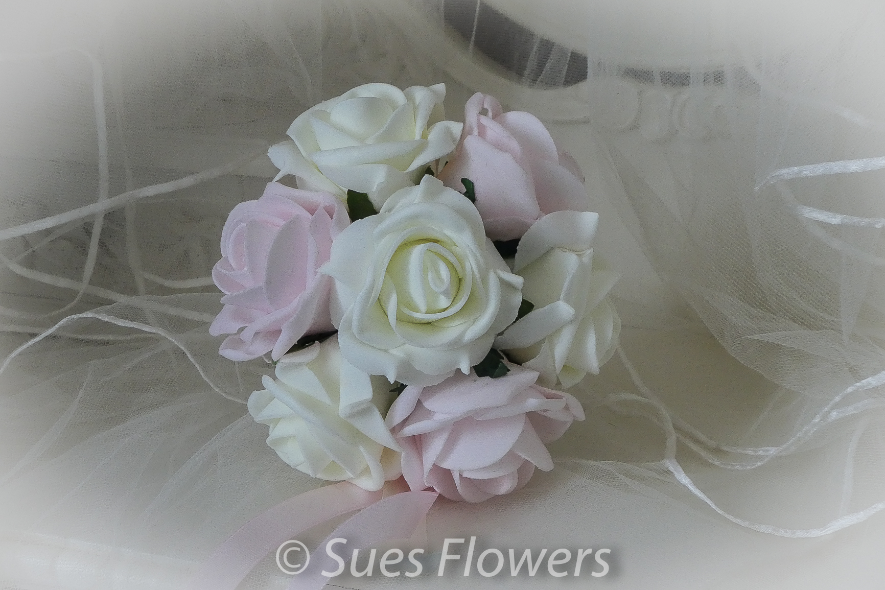 Flower Girl Bouquet In Light Pink And Ivory Roses Sues Flowers Of York